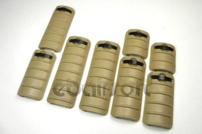 KAC style RAS rail covers ( 8 pcs ) BLACK/TAN